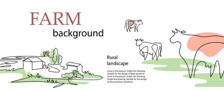 Horizontal banner. Cows and village houses. Agricultural template.