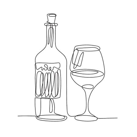 Wine bottle and a glass. One line drawing. Continuous line.