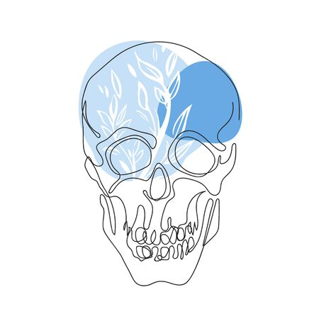 Skull drawn in one line. Print for t-shirts. Çizim