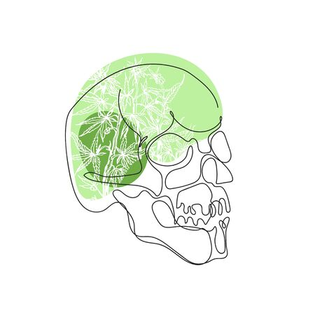 Skull drawn in one line. Print for t-shirts. Skull and leaves of hemp. Çizim