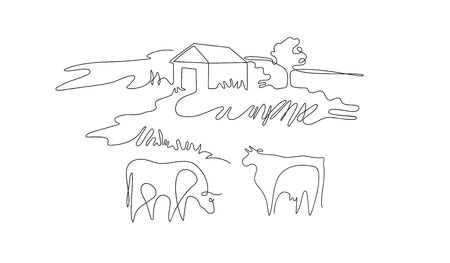 Paesaggio rurale disegnato in una linea. Le mucche pascolano sul prato.