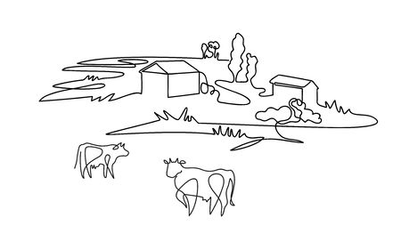Rural landscape drawn in one line. Cows graze on the meadow.