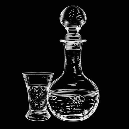 Vector image of a decanter of vodka and a glass of vodka on a black background. Alcoholic beverages.
