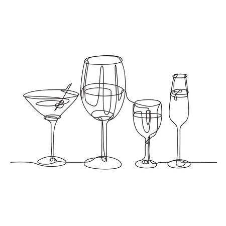 Set of glasses for alcoholic drinks. Glasses for wine, champagne and martini.