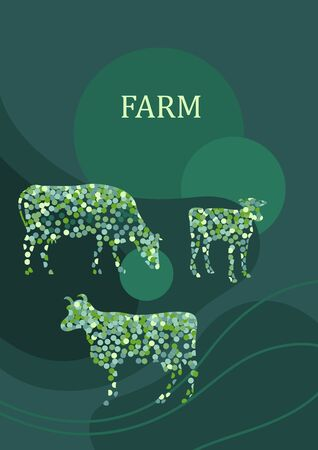 Sample brochure. Agricultural background. Cows made up of circles.