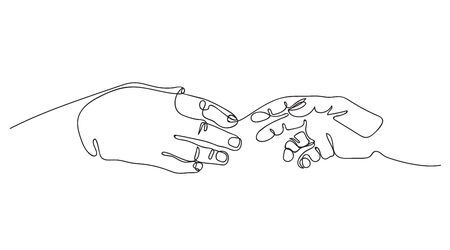 Two hands are drawn to each other. One line drawing. Continuous line. 向量圖像