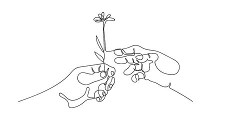 Two hands drawn in one line. Hand gives a flower.