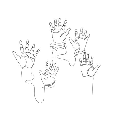 Hands drawn in one line. A lot of hands raised up. Training, party, voting, business. Continuous line. Minimalistic graphics.