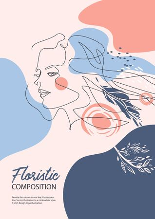 Female face drawn in one line. Silhouettes of flowers. Fashion concept.