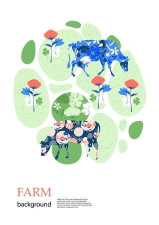 Sample brochure. Agricultural background. Cows in the pasture. Çizim