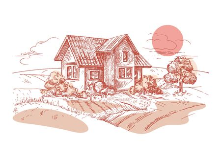 A vector image of a village house. The village landscape. Vintage illustration. The sun over the field. House in the field. Sketch graphics.