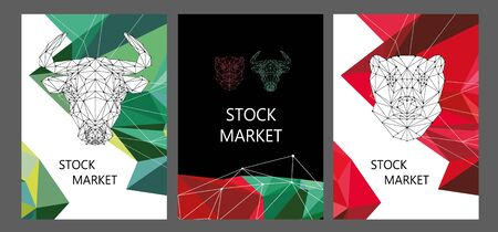 Stock market brochure layout design. Polygonal image of a bull and a bear