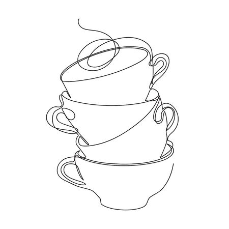 Cups stand on top of each other. A few cups. Minimalist style graphics.