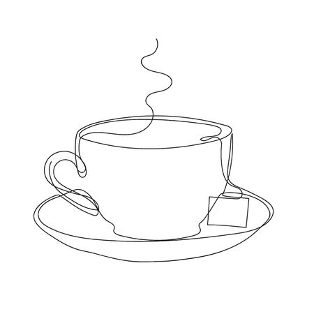 Tea cups and saucer and tea bag. Minimalist style graphics. One line drawing. Continuous line.