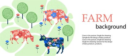 Horizontal banner. Agricultural background. Cows in the pasture. Silhouettes of cows and flowers.