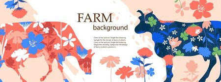 Horizontal banner. Agricultural background. Silhouettes of cows and flowers. Çizim