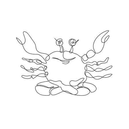 Merry crab is sitting in lotus position. A crab drawn in one line. Continuous line. Minimalist style graphics.