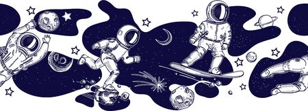 Horizontal seamless border pattern. Running and jumping astronauts. Astronaut on a snowboard. Illustration