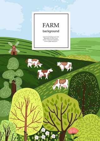 Sample brochure. Agricultural background. Cows in the pasture. Silhouettes of cows and trees. Geometrical composition. Background for covers, flyers, banners. Ilustrace