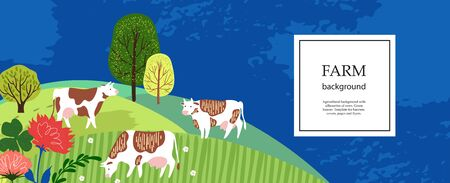 Agricultural background. Cows in the pasture. Silhouettes of cows and trees. Geometrical composition. Background for covers, flyers, banners. Horizontal banner.