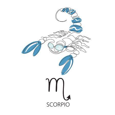 Zodiac sign Scorpio. One line. Vector illustration in the style of minimalism. Archivio Fotografico - 137857032