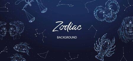 Zodiac background. Astrological horoscope. Horizontal banner with polygonal zodiac signs. Archivio Fotografico - 137857037