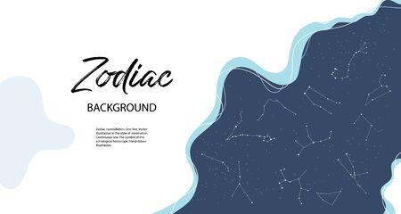 Astrological horoscope. Horizontal background with zodiac constellations. Archivio Fotografico - 137857043