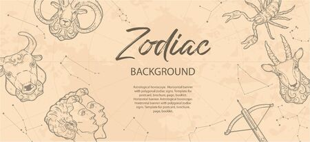 Zodiac background. Astrological horoscope. Vintage map of constellations. Archivio Fotografico - 137857047