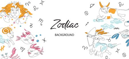 Zodiac background. Astrological horoscope. Horizontal banner with the zodiac signs. Archivio Fotografico - 137857046