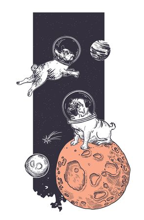 Funny dogs astronauts. Animals in space. Sample print for T-shirts. Space Vector Illustration. Astronomy. Hand-drawn graphics.