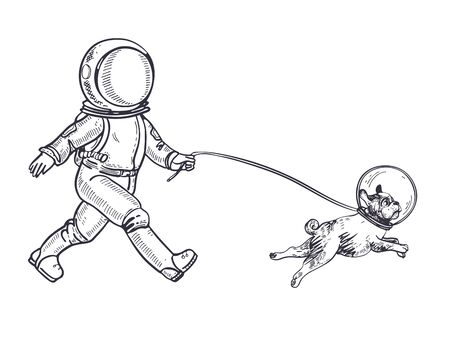 Astronaut walks with a dog. A dog in space. Coloring Page.