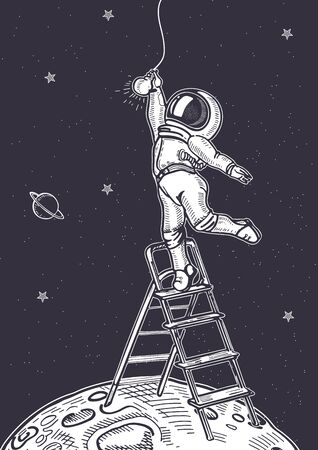 The astronaut is screwing a light bulb while standing on the stairs. Illustration on the theme of astronomy. Hand-drawn graphics.