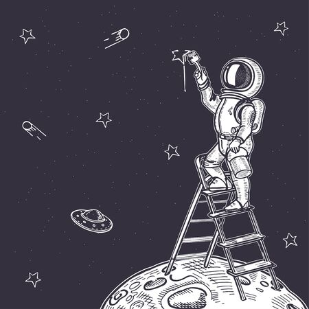 Astronaut draws a starry sky. Astronaut is standing on the stairs. Illustration on the theme of astronomy. Hand-drawn graphics.