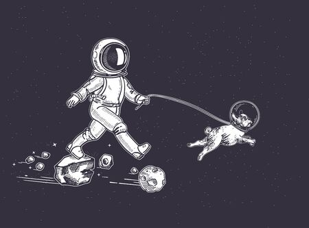 Astronaut walks with a dog. A dog in space. Illustration on the theme of astronomy. Hand-drawn graphics. Illustration