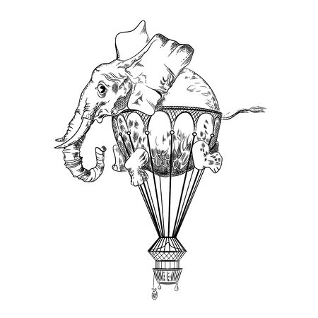 Vector image of an elephant flying in the sky. Tattoo art. T-shirt design. Vetores