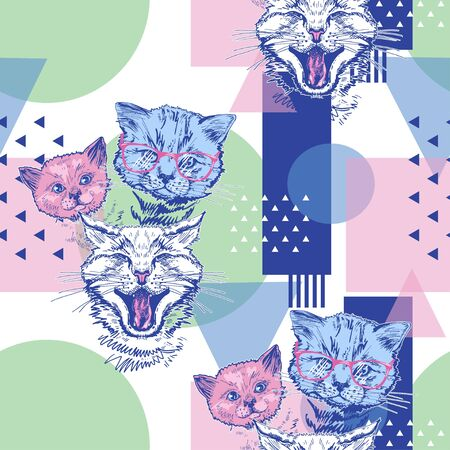 Seamless pattern with cats and geometric shapes. Pop Art. Vettoriali