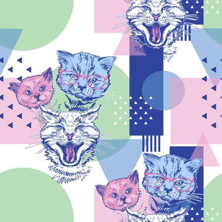 Seamless pattern with cats and geometric shapes. Pop Art. Illusztráció