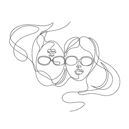 Two female faces drawn in one line. Continuous line. 向量圖像