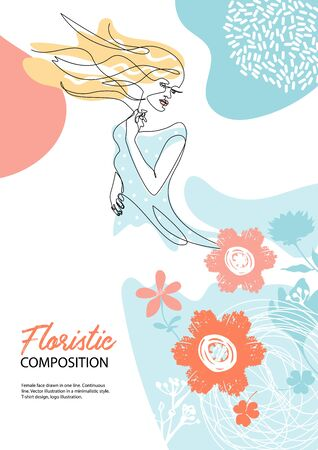 Fashion concept. Woman with long hair. Silhouettes of flowers.