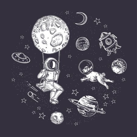 Astronaut is sitting on a swing. Pug astronaut flies in space. Rocket, asteroids and the moon. Circular composition. Space background, postcard, print. Space objects. Stock Illustratie