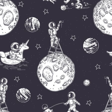 Illustration on the theme of astronomy. Seamless pattern. Vintage graphics.  イラスト・ベクター素材