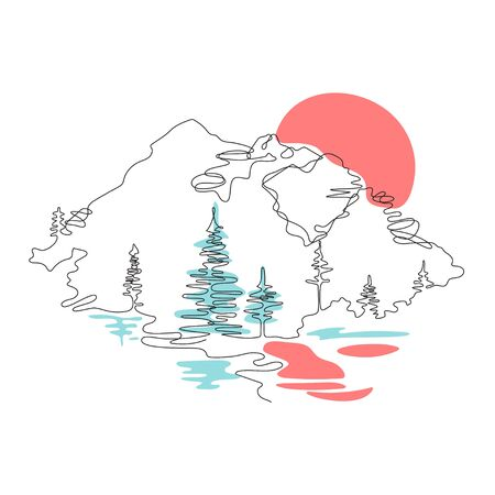 Mountain landscape, drawn in one line. Continuous line. Travels. The sun is reflected in the water. Minimalistic graphics. Mountains and spruce. Ilustração