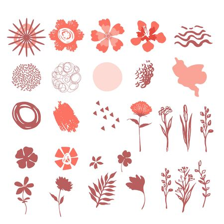 Set of floral vector elements. Flowers and abstract shapes. Triangles, blots, waves.