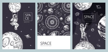 Set of space banners. An astronaut stands on a stepladder and draws stars. 일러스트
