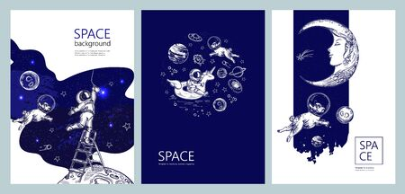 Set of space banners. Astronaut swim on swimming circle of a unicorn. Astronaut is screwing a light bulb.