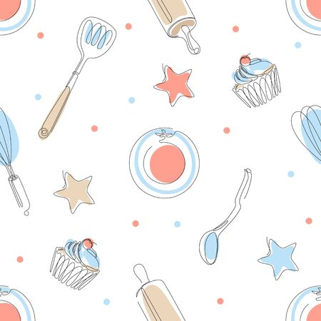 Seamless culinary pattern. Plates, cupcakes, spoons, rolling pins. White background.