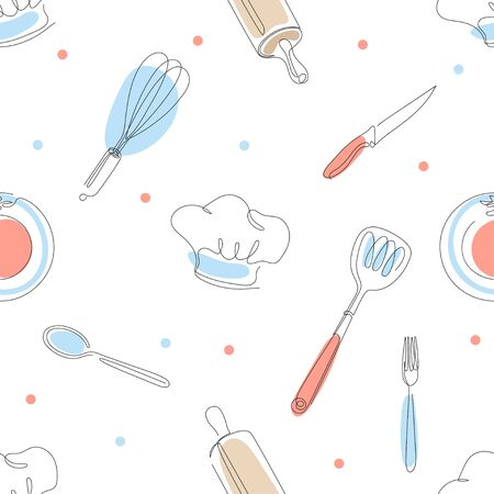 Seamless culinary pattern. Cooks cap, knives, forks, spoons, rolling pins.
