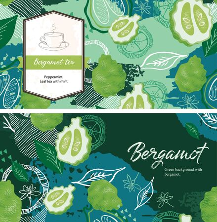 Green background with bergamot fruits and leaves. Tea with bergamot. Ilustração