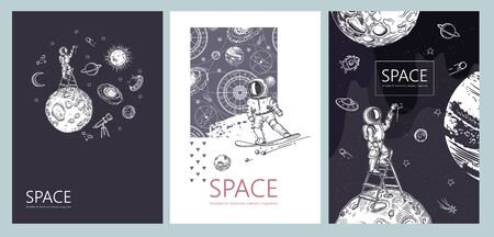 Set of space banners. An astronaut stands on a stepladder and draws stars. Ilustração