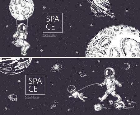 Set of horizontal space banners.Outline astronaut, planets, satellites, flying saucers. Ilustração